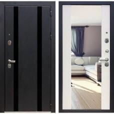 Входная дверь Зетта Премьер 100 К2 Вега с зеркалом (Кора чёрная / Белый венге)