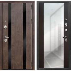 Входная дверь Зетта Премьер 100 К2 Вега с зеркалом (Тиковое дерево / Венге)